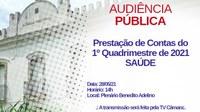 Audiência para prestação de contas da saúde do município será na última sexta de maio