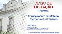 Câmara realizará pregão para aquisição de materiais de elétrica e hidráulica
